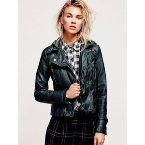 Free People Vegan Leather Hoodie Jacket
